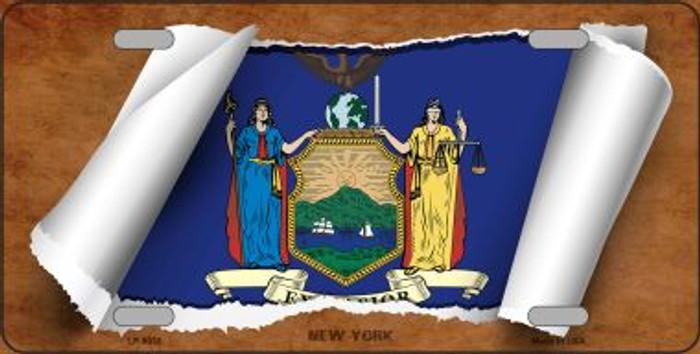 New York Flag Scroll Novelty Metal License Plate