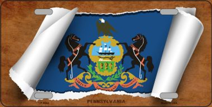 Pennsylvania Flag Scroll Novelty Metal License Plate