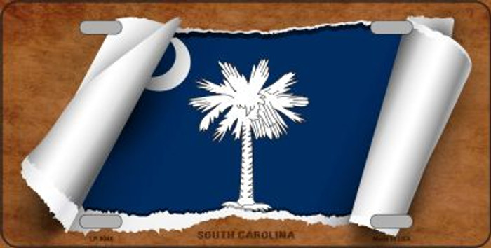 South Carolina Flag Scroll Novelty Metal License Plate
