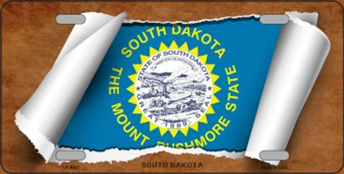 South Dakota Flag Scroll Novelty Metal License Plate