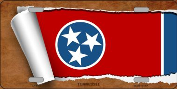 Tennessee Flag Scroll Novelty Metal License Plate