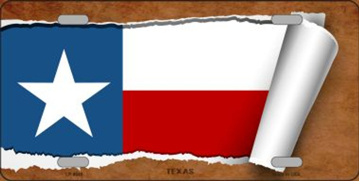 Texas Flag Scroll Novelty Metal License Plate