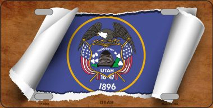 Utah Flag Scroll Novelty Metal License Plate
