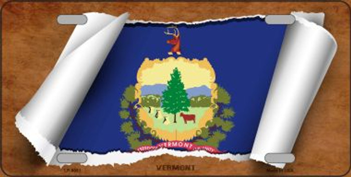Vermont Flag Scroll Novelty Metal License Plate