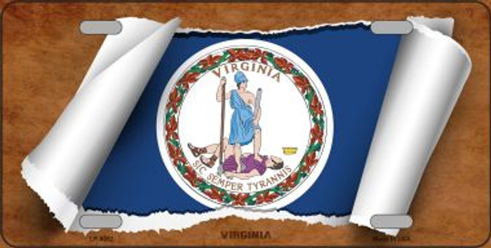 Virginia Flag Scroll Novelty Metal License Plate