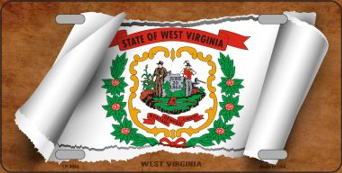 West Virginia Flag Scroll Novelty Metal License Plate