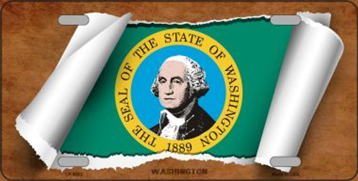 Washington Flag Scroll Novelty Metal License Plate