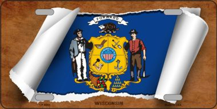 Wisconsin Flag Scroll Novelty Metal License Plate