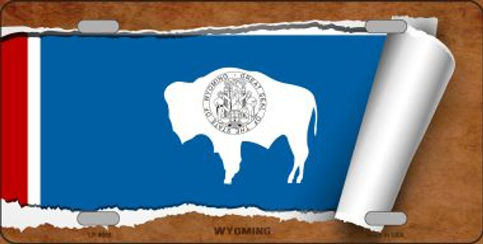 Wyoming Flag Scroll Novelty Metal License Plate