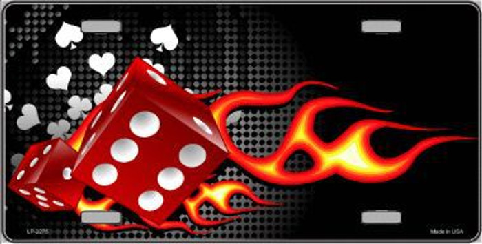 Fire Dice Flame Metal Novelty License Plate