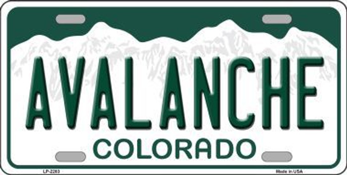 Avalanche Colorado State Background Novelty Metal License Plate