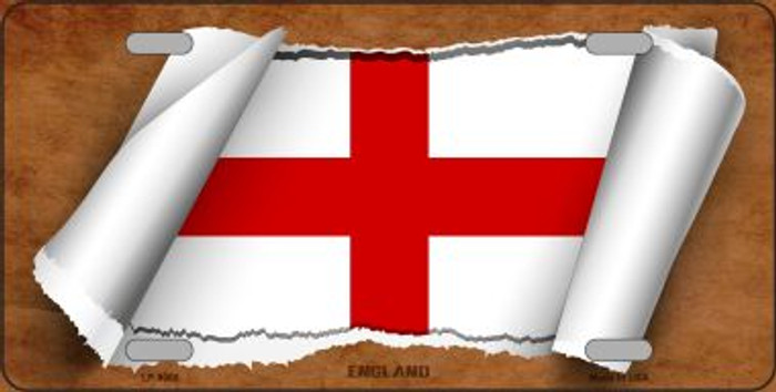England Flag Scroll Metal Novelty License Plate