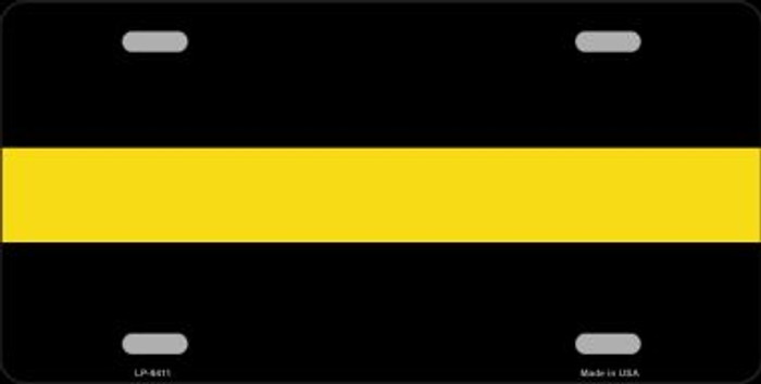 Thin Yellow Line Novelty Metal License Plate