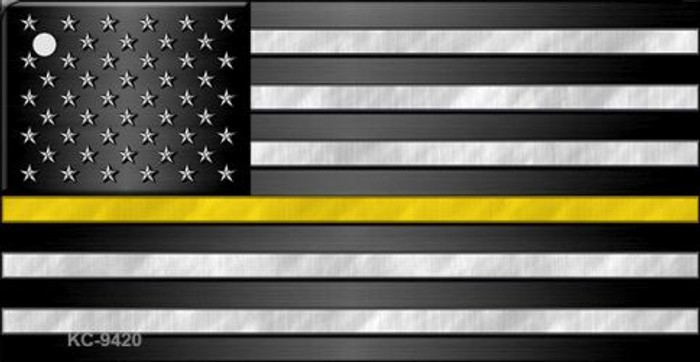 American Flag Thin Yellow Line Novelty Metal Key Chain