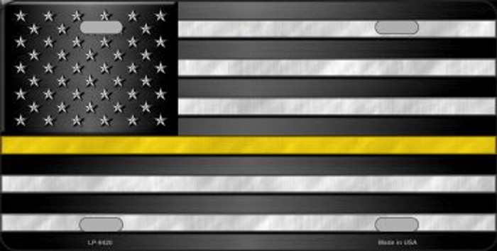 American Flag Thin Yellow Line Novelty Metal License Plate