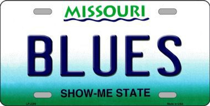 Blues Missouri State Background Metal Novelty License Plate