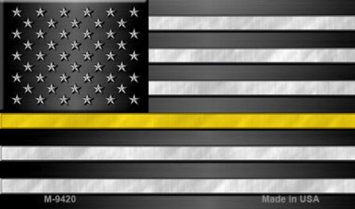 American Flag Thin Yellow Line Novelty Metal Magnet