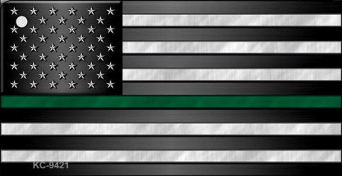 American Flag Thin Green Line Novelty Metal Key Chain