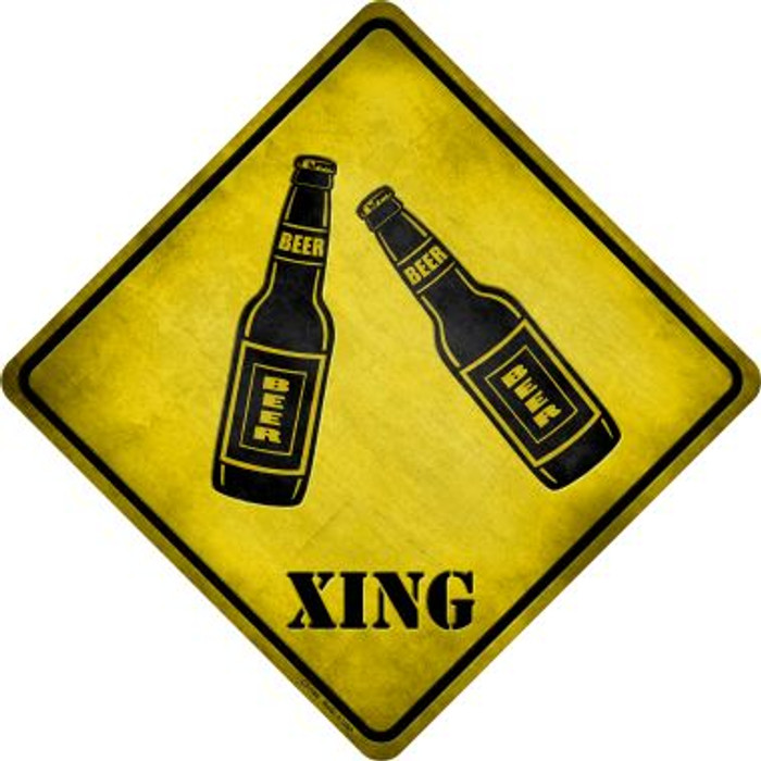 Beer Xing Novelty Metal Crossing Sign