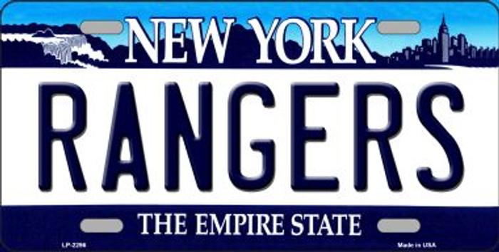 Rangers New York State Background Metal License Plate