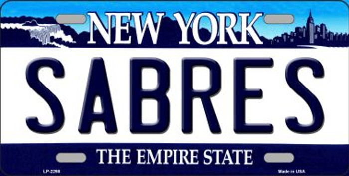 Sabres New York Novelty State Background Metal License Plate