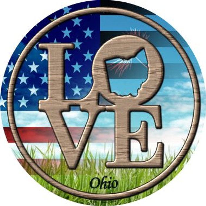 Love Ohio Novelty Metal Circular Sign