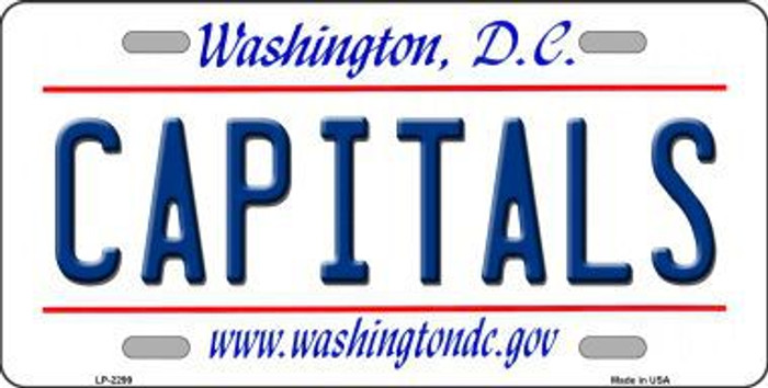 Capitals Washington DC Novelty State Background Metal License Plate
