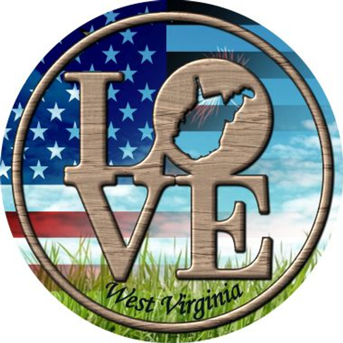 Love West Virginia Novelty Metal Circular Sign