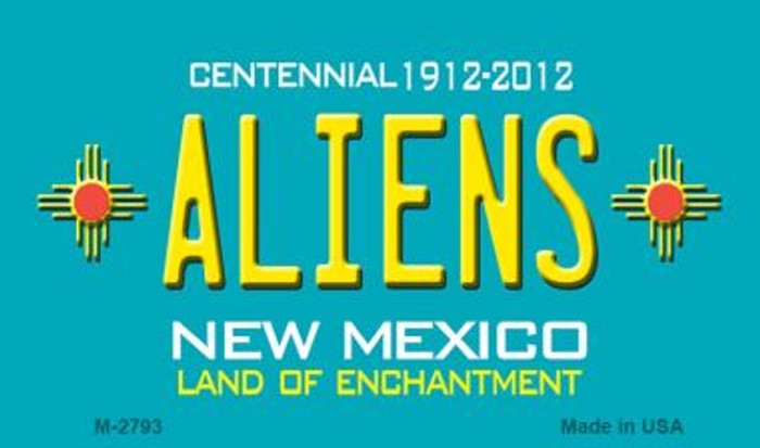 Aliens New Mexico Teal Novelty Metal Magnet
