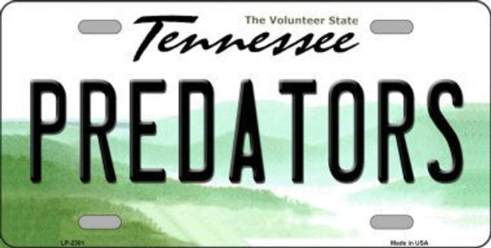 Predators Tennessee Novelty State Background Metal License Plate