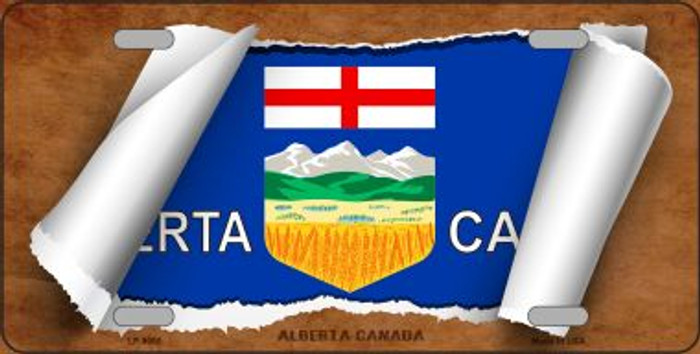 Alberta Canada Flag Scroll Novelty Metal License Plate