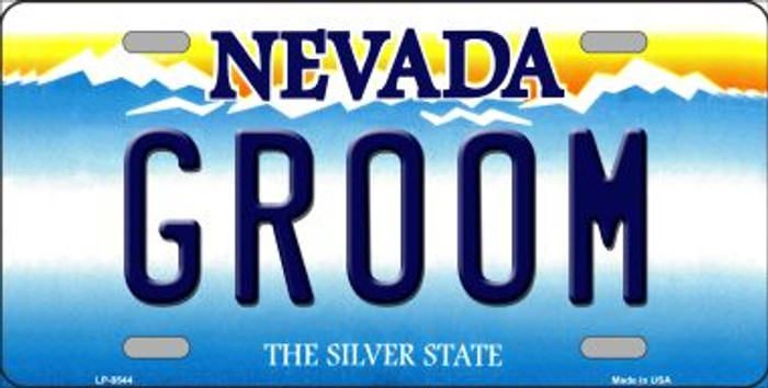 Groom Nevada Background Novelty Metal License Plate