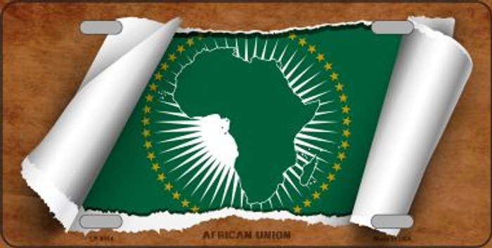 African Union Flag Scroll Novelty Metal License Plate