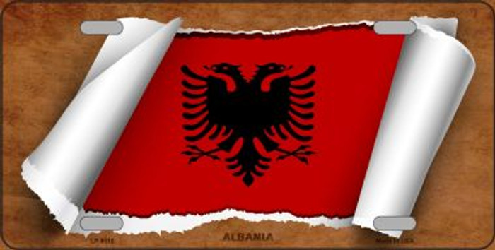 Albania Flag Scroll Novelty Metal License Plate