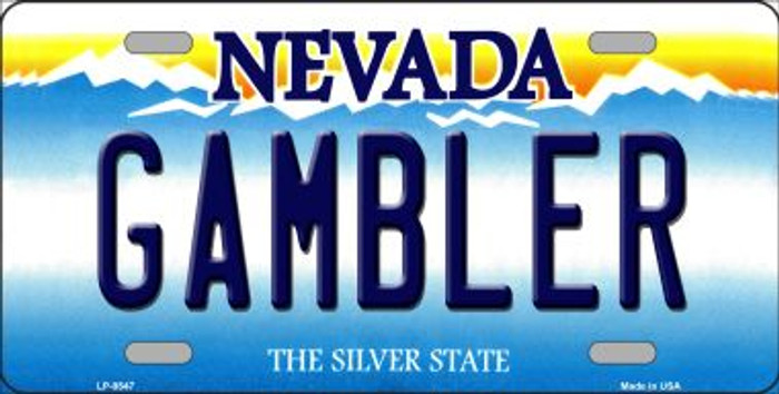 Gambler Nevada Background Novelty Metal License Plate