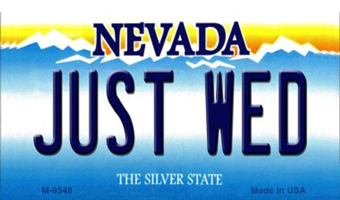 Just Wed Nevada Background Novelty Metal Magnet