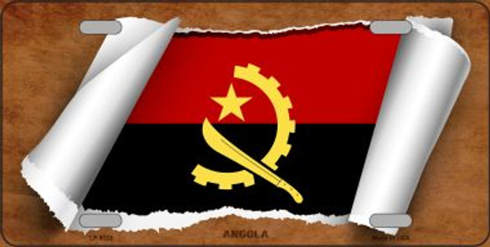 Angola Flag Scroll Novelty Metal License Plate