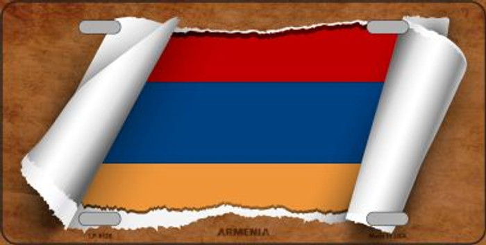 Armenia Flag Scroll Novelty Metal License Plate