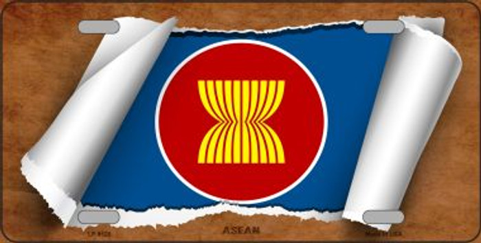 Asean Flag Scroll Novelty Metal License Plate
