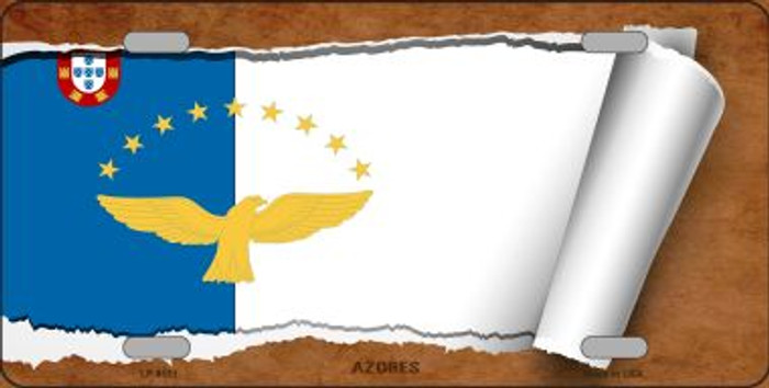 Azores Flag Scroll Novelty Metal License Plate
