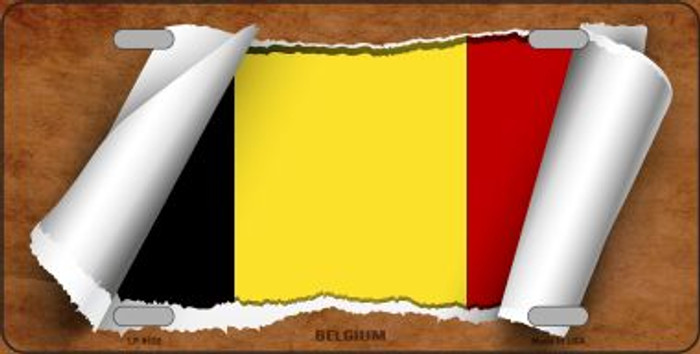 Belgium Flag Scroll Novelty Metal License Plate