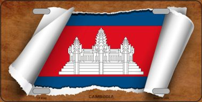 Cambodia Flag Scroll Novelty Metal License Plate