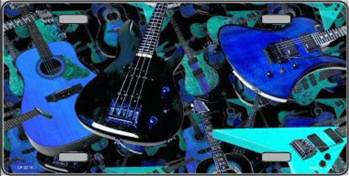 Guitars Blue Background Metal Novelty License Plate