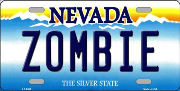 Zombie Nevada Background Novelty Metal License Plate