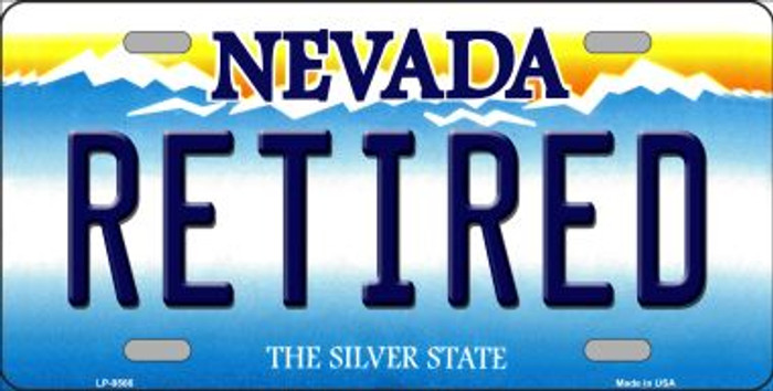 Retired Nevada Background Novelty Metal License Plate