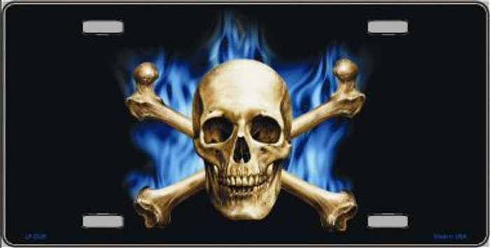 Blue Flame And Crossbones Metal Novelty License Plate