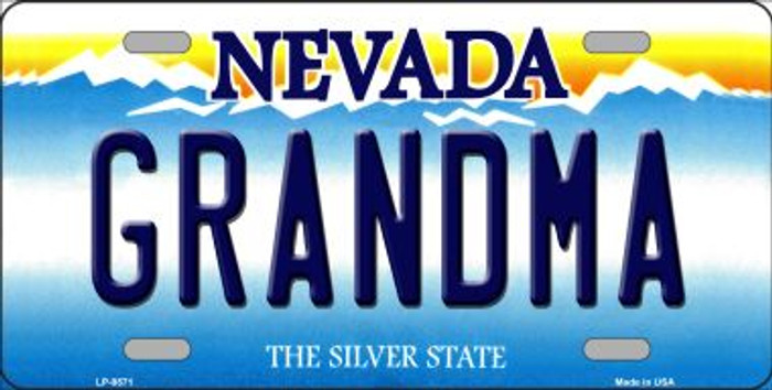 Grandma Nevada Background Novelty Metal License Plate