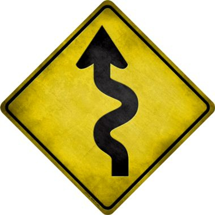 Curved Road Novelty Metal Crossing Sign