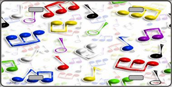 Musical Notes Multi-Color Metal Novelty License Plate