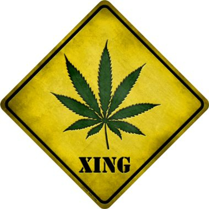 Cannabis Xing Novelty Metal Crossing Sign
